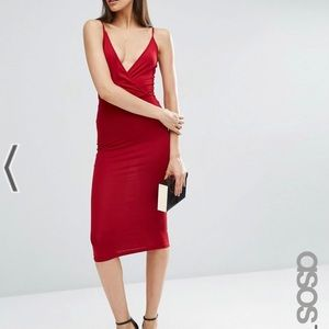 ASOS Tall Strap Back Wrap Front Midi Dress - Red